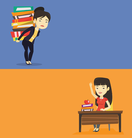 Two educational banners with space for text. Vector flat design. Horizontal layout. Asian tired student carrying a heavy pile of books on her back. Sad female student walking with huge stack of books. Illustration