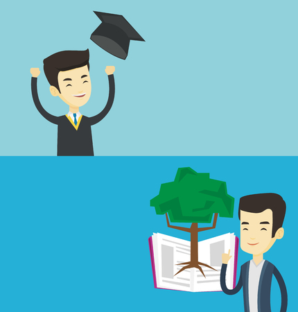 graduate asian: Two educational banners with space for text. Vector flat design. Horizontal layout. Asian student standing on the background of tree growing from open book. Student pointing at tree of knowledge. Illustration