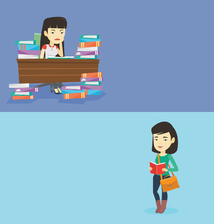Two educational banners with space for text. Vector flat design. Horizontal layout. Asian annoyed student studying before exam. Student studying with textbooks. Bored student studying in the library. Stock Vector - 78187405
