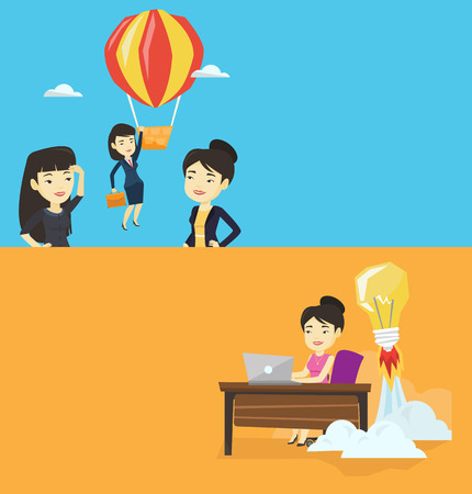 Two business banners with space for text. Vector flat design. Horizontal layout. Two employees looking at their successful colleague. Worker flying away in balloon from her less successful colleagues.