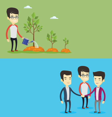 Two business banners with space for text. Vector flat design. Horizontal layout. Asian businessman watering trees of three sizes. Businessman watering trees with watering can. Business growth concept. Illustration