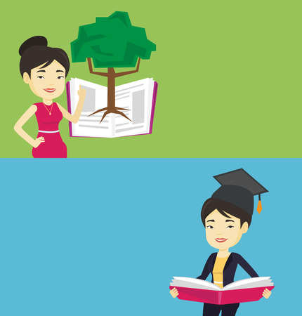 graduate asian: Two educational banners with space for text. Vector flat design. Horizontal layout. Asian student in graduation cap reading a book. Graduate standing with a big open book in hands. Woman holding book.
