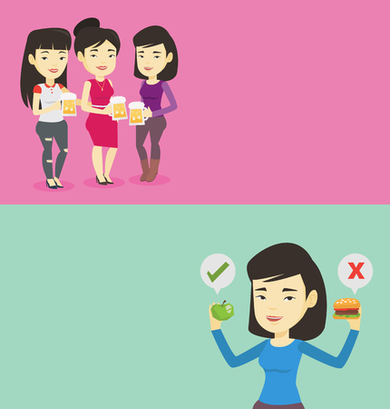 Two food banners with space for text. Vector flat design. Horizontal layout. Girl holding apple and hamburger. Girl choosing between apple and hamburger. Choice between healthy and unhealthy nutrition