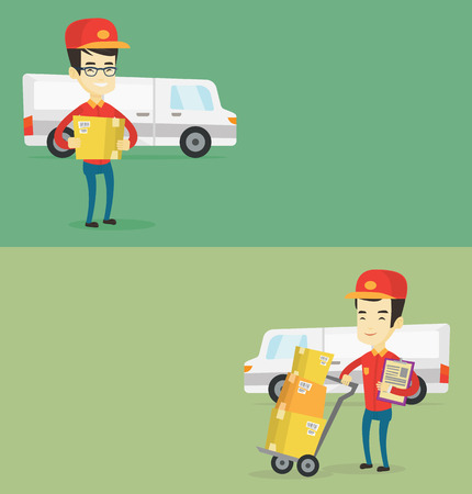 troley: Two industrial banners with space for text. Vector flat design. Horizontal layout. Asian delivery man with cardboard boxes on troley. Delivery man with clipboard. Delivery man standing in front of van