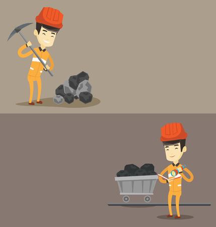 Zwei industriellen Banner mit Platz für Text. Vektor-flaches Design. Horizontal-Layout. Miner im harten Hut mit einer Spitzhacke zu arbeiten. Miner in der Kohlengrube. Miner Prüfung von Dokumenten mit der Taschenlampe. Standard-Bild - 78187443