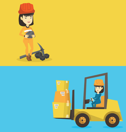 Two industrial banners with space for text. Vector flat design. Horizontal layout. Asian female miner in hard hat holding coal in hands. Young smiling miner with a pickaxe. Miner working at coal mine. Illustration