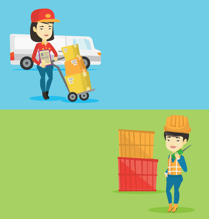 Two industrial banners with space for text. Vector flat design. Horizontal layout. Asian delivery courier pushing troley with cardboard boxes. Young delivery courier standing in front of delivery van.