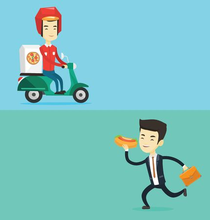 Two food and drink banners with space for text. Vector flat design. Horizontal layout. Asian man delivering pizza on scooter. Courier driving a motorbike and delivering pizza. Concept of food delivery Illustration