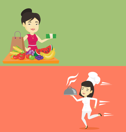 Two food and drink banners with space for text. Vector flat design. Horizontal layout. Woman standing at the table with grocery purchases. Woman holding money in front of table with grocery purchases. Ilustração