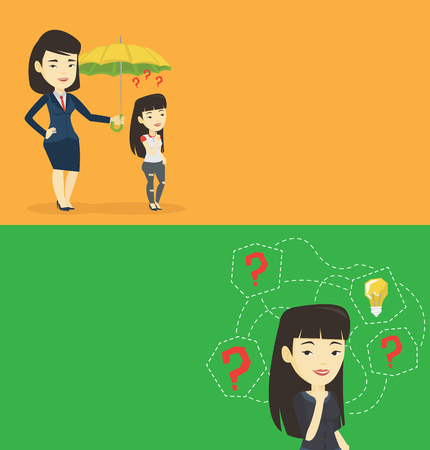 insure: Two business banners with space for text. Vector flat design. Horizontal layout. Insurance agent holding umbrella over woman. Asian woman standing under umbrella and question marks. Insurance concept.