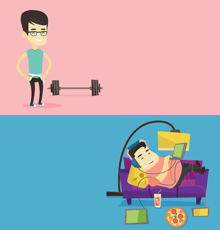 Two lifestyle banners with space for text. Vector flat design. Horizontal layout. Young man measuring his waistline with a tape. Man measuring with tape the abdomen. Asian man with tape on a waist.