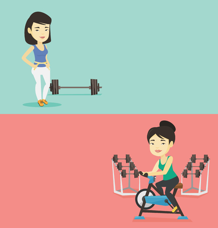 Two lifestyle banners with space for text. Vector flat design. Horizontal layout. Woman riding stationary bicycle. Woman exercising on stationary training bicycle. Woman training on exercise bicycle. 向量圖像