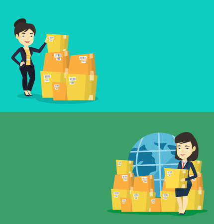 Two industrial banners with space for text. Vector flat design. Horizontal layout. Asian business woman checking boxes in warehouse. Young business woman preparing goods for dispatch in warehouse.