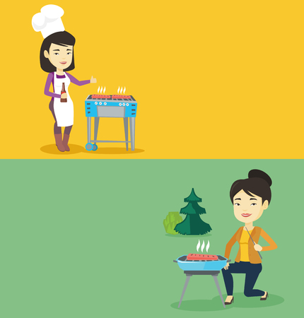prepare: Two food and drink banners with space for text. Vector flat design. Horizontal layout. Woman cooking on barbecue grill and giving thumb up. Woman holding bottle of beer and cooking on barbecue grill.