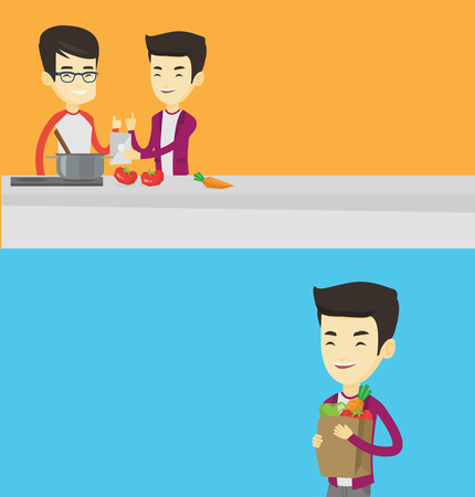 Two food banners with space for text. Vector flat design. Horizontal layout. Young asian women following recipe for healthy vegetable meal on digital tablet. Two male friends cooking healthy meal.