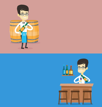 Two drinks banners with space for text. Vector flat design. Horizontal layout. Caucasian waitress holding bottle of wine. Waitress with bottle of wine standing on the background of wine barrels.