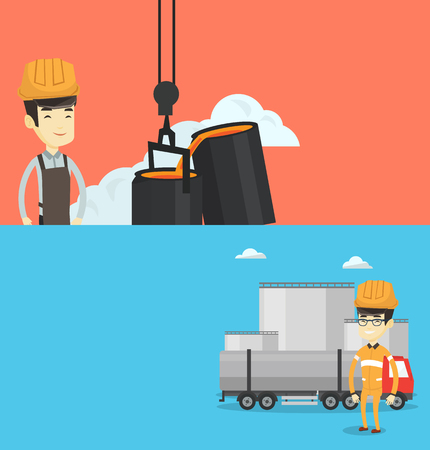 Two industrial banners with space for text. Vector flat design. Horizontal layout. Refinery worker of oil and gas industry. Young worker standing on the background of fuel truck and oil refinery plant