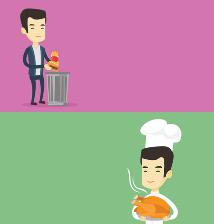 Two food banners with space for text. Vector flat design. Horizontal layout. Asian chef in uniform holding roasted chicken. Chef with whole baked chicken. Chef holding plate with just fried chicken.