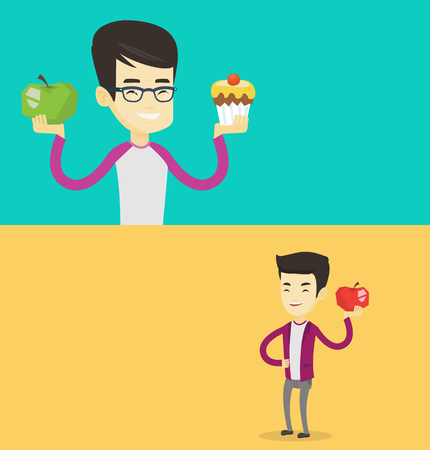 Two food banners with space for text. Vector flat design. Horizontal layout. Asian man holding apple and cupcake. Man choosing between apple and cupcake. Choice between healthy and unhealthy nutrition
