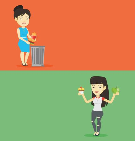 Two food banners with space for text. Vector flat design. Horizontal layout. Asian woman putting junk food into trash bin. Adult woman refusing to eat junk food. Woman throwing junk food. Diet concept Illustration