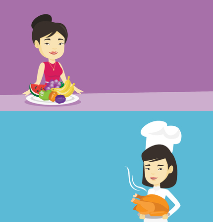 Two food banners with space for text. Vector flat design. Horizontal layout. Asian woman eating fresh healthy fruits. Woman standing in front of table with fresh fruits. Girl with plate full of fruits Illustration