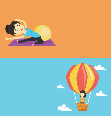 man flying: Two lifestyle banners with space for text. Vector flat design. Horizontal layout. Woman flying in a hot air balloon. Woman standing in the basket of hot air balloon. Woman traveling in hot air balloon Illustration