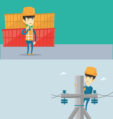 Two industrial banners with space for text. Vector flat design. Horizontal layout. Asian port worker in hard hat talking on wireless radio. Young port worker standing on cargo containers background. Illustration