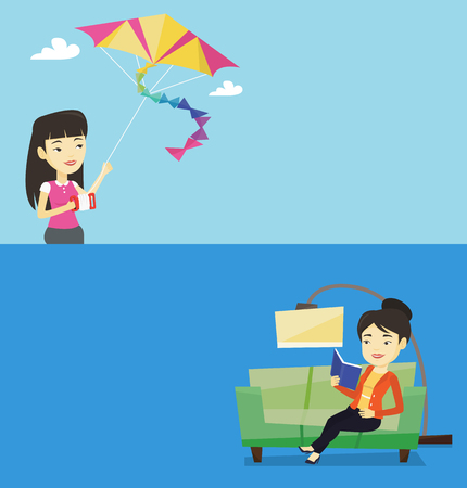Two lifestyle banners with space for text. Vector flat design. Horizontal layout. Asian smiling woman relaxing with a book on the couch at home. Happy young woman sitting on a sofa and reading a book. Stock Illustratie