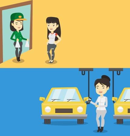 Two industrial banners with space for text. Vector flat design. Horizontal layout. Asian worker of car factory. Engineer at work on car factory. Worker controlling automated assembly line for cars.