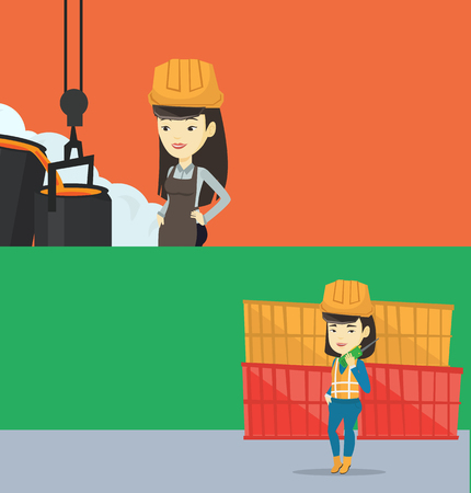 Two industrial banners with space for text. Vector flat design. Horizontal layout. Asian steelworker in a hardhat at work in the foundry. Female steelworker controlling iron smelting in the foundry.