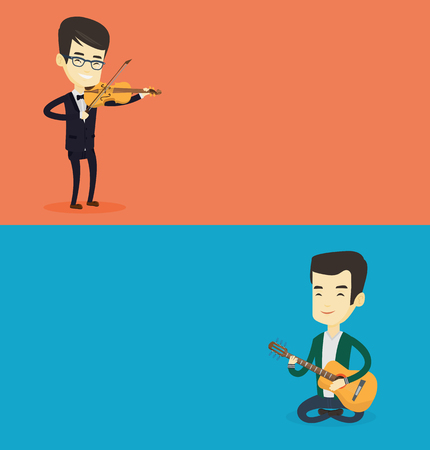 Two media banners with space for text. Vector flat design. Horizontal layout. Musician sitting with guitar in hands. Young musician playing an acoustic guitar. Guitarist practicing in playing guitar.