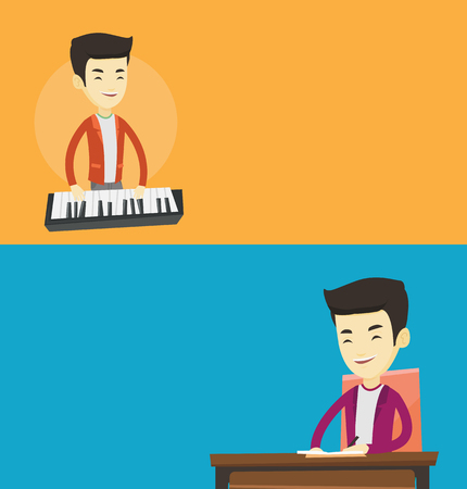 Two media banners with space for text. Vector flat design. Horizontal layout. Pianist playing on synthesizer. Young musician playing piano. Pianist playing upright piano. Journalist writing article. Çizim