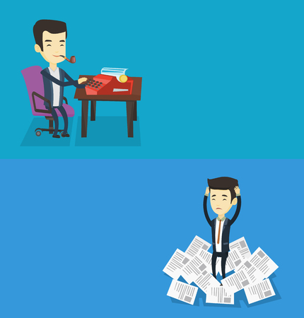 Two media banners with space for text. Vector flat design. Horizontal layout. Asian businessman surrounded by lots of papers. Businessman having a lot of paperwork. Man standing in the heap of papers.
