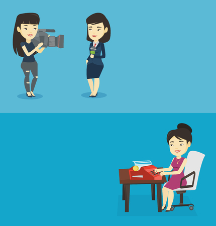smoking woman: Two media banners with space for text. Vector flat design. Horizontal layout. Young asian journalist writing an article on a vintage typewriter. Concentrated journalist working on retro typewriter.