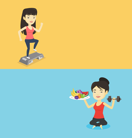 Two lifestyle banners with space for text. Vector flat design. Horizontal layout. Asian woman holding fruits and dumbbell. Young sportswoman with fruits and dumbbell. Woman choosing healthy lifestyle.