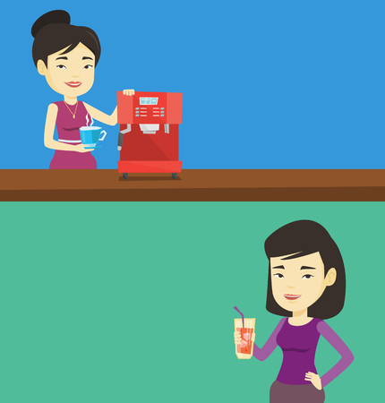 Two drinks banners with space for text. Vector flat design. Horizontal layout. Woman making coffee with a coffee-machine. Woman holding cup of flavoured coffee. Woman standing beside a coffee machine. Illustration