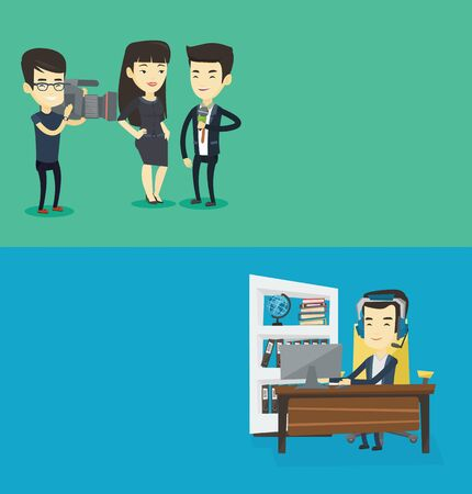 video call: Two media banners with space for text. Vector flat design. Horizontal layout. Man using computer for playing game. Gamer in headphones playing computer game. Businessman working on computer in office. Illustration