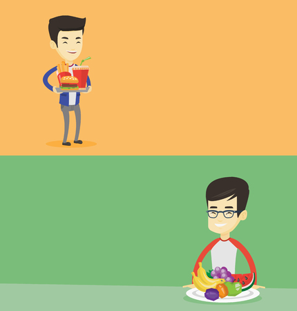 Two food banners with space for text. Vector flat design. Horizontal layout. Young asian man holding tray with fast food. Smiling man having a lunch in a fast food restaurant. Man eating fast food. Illustration