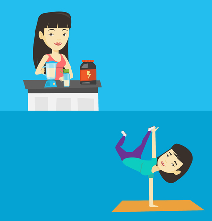 break in: Two lifestyle banners with space for text. Vector flat design. Horizontal layout. Young asian woman showing her skills in break dance. Happy breakdance dancer doing handstand. Young woman dancing. Illustration