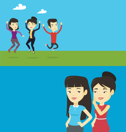 Two lifestyle banners with space for text. Vector flat design. Horizontal layout. Young asian woman whispering a gossip to a friend. Two women sharing gossips. Smiling friends discussing gossips.