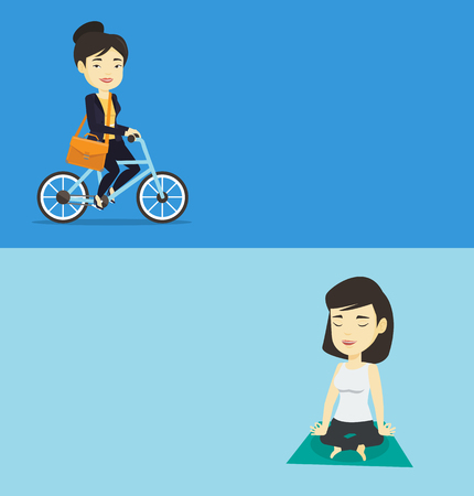 Two lifestyle banners with space for text. Vector flat design. Horizontal layout. Asian sportswoman relaxing in the yoga lotus position. Young sportswoman meditating in yoga lotus position on the mat. Ilustrace