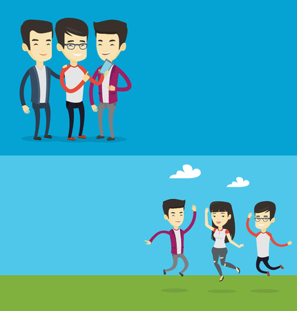 lady on phone: Two lifestyle banners with space for text. Vector flat design. Horizontal layout. Group of young people jumping in park. Group of cheerful friends having fun and jumping outdoors. Friendship concept. Illustration