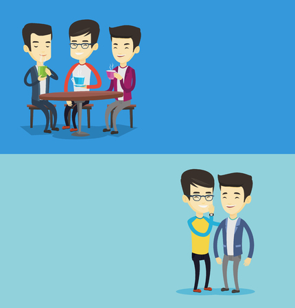 Two lifestyle banners with space for text. Vector flat design. Horizontal layout. Group of friends drinking hot and alcoholic drinks. Friends hanging out together in a cafe. Friends relaxing in a cafe