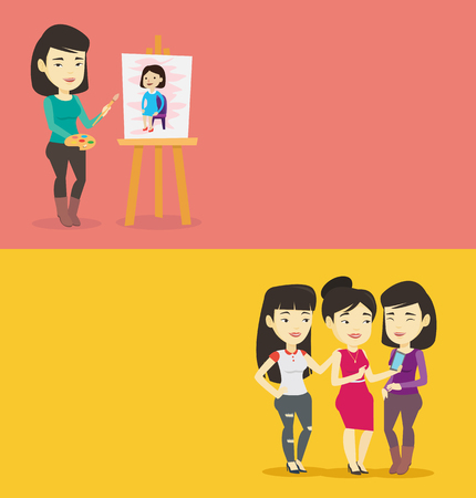 Two lifestyle banners with space for text. Vector flat design. Horizontal layout. Young asian woman painting a female model on canvas. Creative artist drawing on an easel. Artist working on a painting