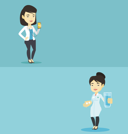 Two medical banners with space for text. Vector flat design. Horizontal layout. Young asian pharmacist holding a glass of water and pills in hands. Smiling pharmacist in medical gown giving medication