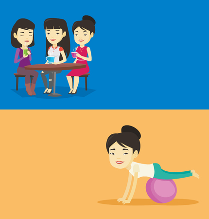 Two lifestyle banners with space for text. Vector flat design. Horizontal layout. Young asian woman exercising with fitball. Smiling woman training triceps and biceps while doing push ups on fitball.