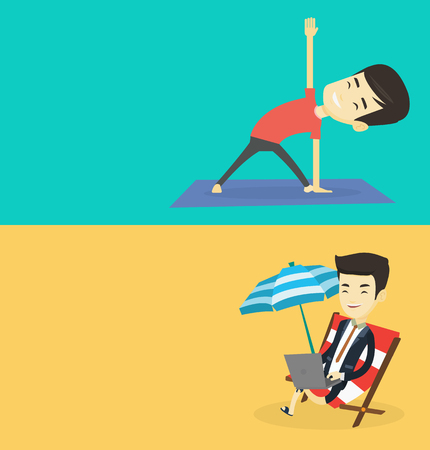 Two lifestyle banners with space for text. Vector flat design. Horizontal layout. Asian business man working on the beach. Business man sitting in chaise lounge under beach umbrella and using laptop.