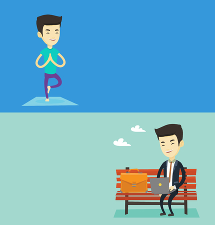laptop: Two lifestyle banners with space for text. Vector flat design. Horizontal layout. Man standing in yoga tree pose. Man meditating in yoga tree position. Man doing yoga. Businessman working in the park.