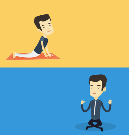 Two lifestyle banners with space for text. Vector flat design. Horizontal layout. Asian business man meditating in yoga lotus position. Businessman relaxing in the yoga lotus position. Man doing yoga.