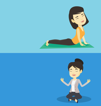 Two lifestyle banners with space for text. Vector flat design. Horizontal layout. Asian sportswoman meditating in yoga upward dog position. Young sportswoman practicing yoga upward dog pose on the mat Illustration